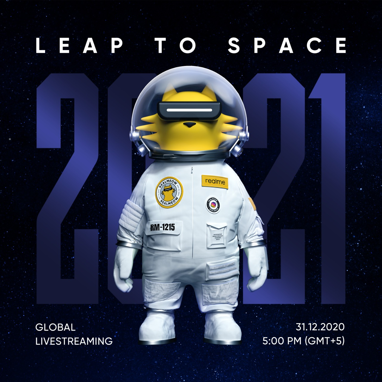 Leap to space this New Year's Eve with realmeow space adventure livestream. Hello 2021!