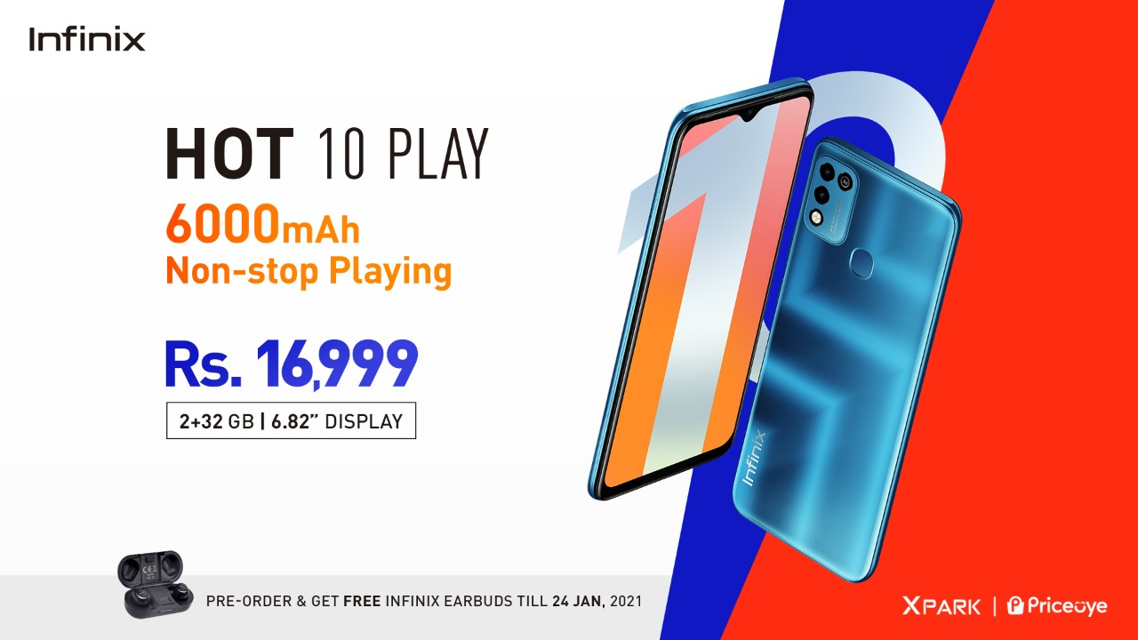Infinix Hot 10 Play with Gigantic 6000mAh battery is up for Pre-Orders