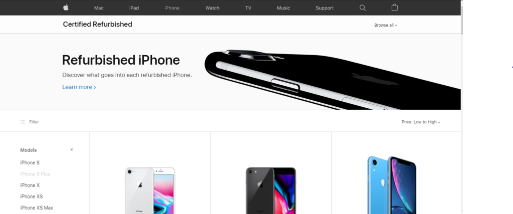 Refurbished iPhones from Apple Store